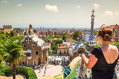The famous park Guell in Barcelona, Spain Royalty Free Stock Images