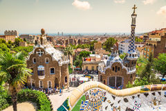 The famous park Guell in Barcelona, Spain Royalty Free Stock Image