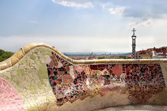 Famous park Guell in Barcelona, Spain. With Gaudi houses Stock Photo