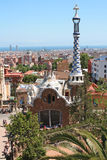 Famous Park Guell on May 11, 2013 in Barcelona, Spain. Parc Guell was built from 1900 to 1914 for the project Antoni Gaudi Royalty Free Stock Photography