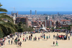 Famous Park Guell on May 11, 2013 in Barcelona, Spain. Parc Guell was built from 1900 to 1914 for the project Antoni Gaudi Royalty Free Stock Photos