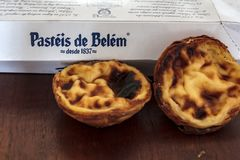 The famous Pasteis de Belem from one of the most famous sweets shop in Lisbon royalty free stock photography