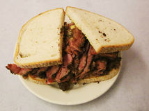 Famous Pastrami on rye sandwich served in New York Deli Royalty Free Stock Photography