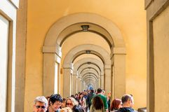 Famous path wiht arches in Florence, Tuscany Royalty Free Stock Images