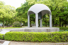 Famous peace bell in the Peace Memorial Park in Hiroshima Royalty Free Stock Image
