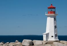 Famous Peggy's Cove Lighthouse Royalty Free Stock Photos