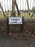 Penny Lane Road Sign Liverpool stock photos