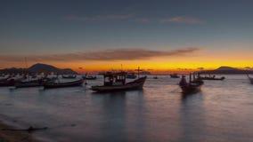 Famous phuket tourist boat parking sunrise panorama 4k time lapse thailand stock footage