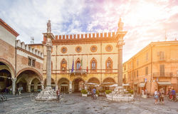 Famous Piazza del Popolo with town hall, Ravenna, Emilia-Romagna, Italy Royalty Free Stock Photography