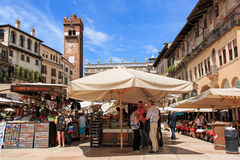 Famous Piazza delle Erbe, Verona, Italy Royalty Free Stock Images