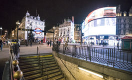Famous Piccadilly Circus by night LONDON, England - United Kingdom - FEBRUARY 22, 2016 Stock Photo
