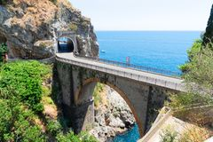 Road of Amalfi coast, Italy. Famous picturesque road in the rocks of Amalfi coast, Italy stock images