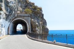 Road of Amalfi coast, Italy. Famous picturesque road viaduct of Amalfi summer coast, Italy Stock Images
