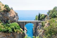 Road of Amalfi coast, Italy. Famous picturesque road viaduct of Amalfitana summer coast, Italy Stock Photo