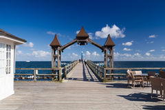 Famous pier with historical house in Sellin. Royalty Free Stock Photography