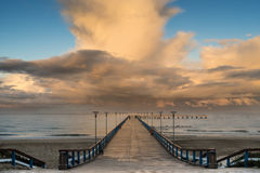 Famous pier in Palanga, Lithuania, Europe. Morning autumnal view on famous pier in Palanga resort city, Lithuania, Europe Royalty Free Stock Image