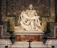The famous Pieta or Lamentation of Christ is the sculpture of Michelangelo Buonarroti in St. Peter`s Cathedral in the Vatican. stock photo
