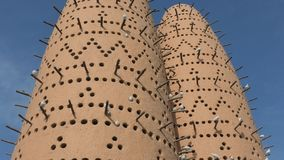 Pigeon Towers Katara Village. Famous pigeon towers in front of Mosque in Katara, a cultural village also named valley of cultures, Doha, Qatar, located between stock video footage