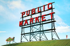 Famous Pike Place market sign in Seattle Stock Photos