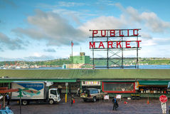 Famous Pike Place market sign in Seattle Royalty Free Stock Image