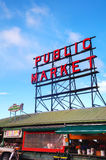 Famous Pike Place market sign in Seattle Stock Photography