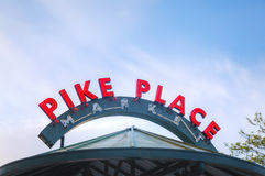 Famous Pike Place market sign in Seattle Stock Images