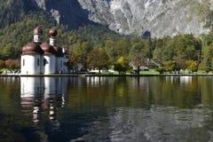 St. Bartholomew`s Church, Lake Königssee, near Berchtesgaden Royalty Free Stock Image