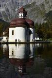 St. Bartholomew`s Church, Lake Königssee near Berchtesgaden, Bavaria, Germany Royalty Free Stock Images