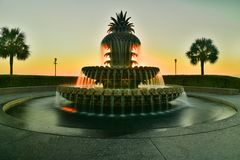 Famous Pineapple Fountain In Charleston,SC stock photography