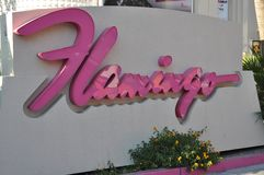 Famous Pink Flamingo hotel and resort Las Vegas. August 2013 - Las Vegas, Nevada (USA) - View of the Pink Flamingo hotel and resort sign on Las Vegas Strip Royalty Free Stock Photography