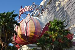 Famous Pink Flamingo hotel and resort Las Vegas. August 2013 - Las Vegas, Nevada (USA) - View of the Pink Flamingo hotel and resort on Las Vegas Strip Stock Photography