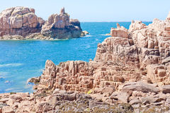Famous pink granite rocks in Brittany, France Royalty Free Stock Images