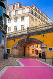 The famous Pink street in Lisbon, Portugal Stock Images