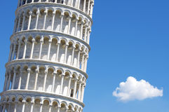 Famous Pisa tower and a cloud Stock Photography