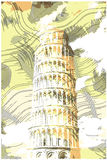 Famous pisan tower rendered with engraving effects Stock Images