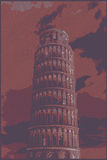 Famous pisan tower rendered with engraving effects Royalty Free Stock Image