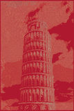 Famous pisan tower rendered with engraving effects Stock Photography