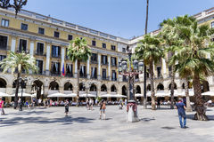 The famous Placa Reial with tourists  in Barcelona Spain Royalty Free Stock Photo