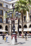 The famous Placa Reial with tourists  in Barcelona Spain Royalty Free Stock Photography