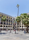 The famous Placa Reial with tourists  in Barcelona Spain Royalty Free Stock Photos