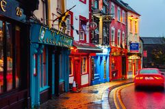 Famous place in the city at night with bars and pubs in Kilkenny, Ireland Royalty Free Stock Photography