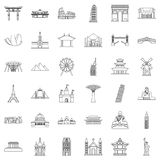 Famous place icons set, outline style Royalty Free Stock Images
