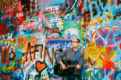 Famous Place In Prague - The John Lennon Wall Royalty Free Stock Photo