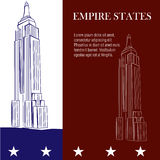 Famous place. A pair of sketches of the empire states on a colored background Stock Image