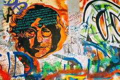 Famous place in Prague - The John Lennon Wall Royalty Free Stock Images