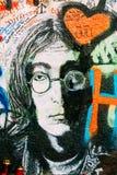 Famous place in Prague - The John Lennon Wall, Czech Republic Royalty Free Stock Photo