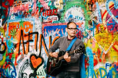 Famous place in Prague - The John Lennon Wall Stock Photo