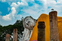Famous place in Thailand & x28;Khuninthapramun temple , large reclining Buddha statue royalty free stock photography