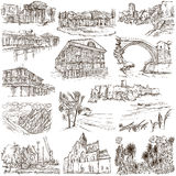 Famous places and architecture - hand drawings Royalty Free Stock Photography