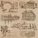 Famous places and architecture - hand drawn vector Stock Photos